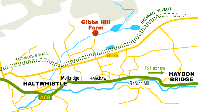 Map of Gibbs Hill Farm near Hadrian's Wall